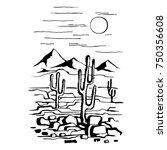 Sketch Hand Drawn Of The Desert ...