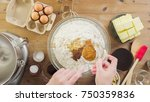step by step. mixing dough for... | Shutterstock . vector #750359836