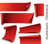red curved paper banners | Shutterstock .eps vector #750363616