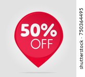 special offer red fifty sale tag | Shutterstock .eps vector #750364495