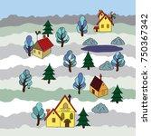 winter village landscape card | Shutterstock .eps vector #750367342