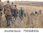 group of hunters during hunting ...   Shutterstock . vector #750368356