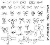 doodle set of bows | Shutterstock .eps vector #750379405