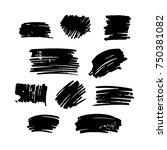 black vector  strokes of marker ... | Shutterstock .eps vector #750381082