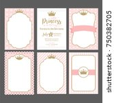 a set of cute pink templates... | Shutterstock .eps vector #750382705