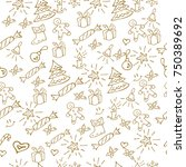 christmas background hand drawn.... | Shutterstock .eps vector #750389692