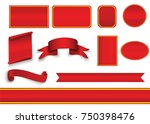 set of red curved paper blank...   Shutterstock .eps vector #750398476