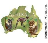 map of australia koala kangaroo | Shutterstock .eps vector #750403846