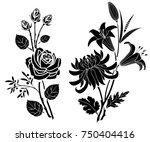 Stock vector rose and lily and chrysanthemum tattoo silhouette of flowers and leaves on a white background 750404416