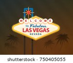 welcome to fabulous las vegas... | Shutterstock .eps vector #750405055