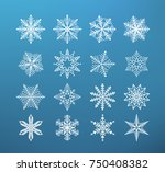 snowflake winter isolated. set... | Shutterstock .eps vector #750408382