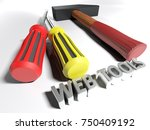 a hammer and two screwdrivers... | Shutterstock . vector #750409192