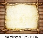 Rope Frame On Bamboo Background