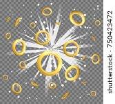 golden ring circles light beam... | Shutterstock .eps vector #750423472