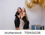 two lovely girls in similar... | Shutterstock . vector #750426238