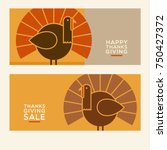 happy thanksgiving flat... | Shutterstock .eps vector #750427372
