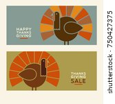 happy thanksgiving flat... | Shutterstock .eps vector #750427375