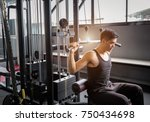 personal trainer weight lifting ... | Shutterstock . vector #750434698