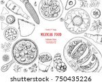mexican food top view frame. a... | Shutterstock .eps vector #750435226