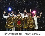 new 2018 year is coming  group... | Shutterstock . vector #750435412