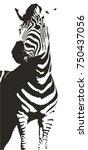 zebra illustration icon simple... | Shutterstock .eps vector #750437056