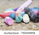 broken up   rainbow chalk | Shutterstock . vector #750439858
