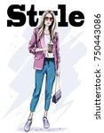 hand drawn fashion woman in... | Shutterstock .eps vector #750443086