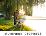 young loving family walks by...   Shutterstock . vector #750446515