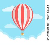 hot air balloon with clouds in... | Shutterstock .eps vector #750452155
