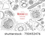 mexican food top view frame. a... | Shutterstock .eps vector #750452476