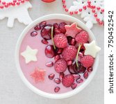red pink smoothie bowl with... | Shutterstock . vector #750452542