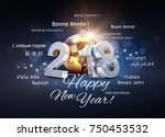 2018 new year type composed... | Shutterstock . vector #750453532