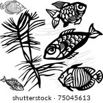 the stylized silhouettes of sea ... | Shutterstock .eps vector #75045613