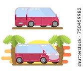 minibus image in flat style | Shutterstock .eps vector #750459982