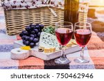 glasses with wine  grapes ... | Shutterstock . vector #750462946