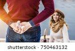 surprise for beloved woman.... | Shutterstock . vector #750463132
