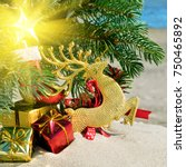 christmas toys  reindear and... | Shutterstock . vector #750465892