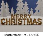 merry christmas card. metallic... | Shutterstock . vector #750470416