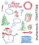 crayon christmas new year...   Shutterstock .eps vector #750477568