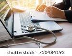 doctor's working on laptop...   Shutterstock . vector #750484192