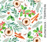 seamless christmas pattern with ...   Shutterstock . vector #750494146