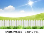 White Fence With Grass On Clea...