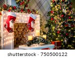 new year green tree decorated... | Shutterstock . vector #750500122