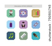 education and school icon set.... | Shutterstock .eps vector #750501745