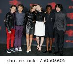 Small photo of Noah Schnapp, Gaten Matarazzo, Millie Bobby Brown, Sadie Sink, Caleb McLaughlin and Finn Wolfhard at the Netflix's season 2 premiere of 'Stranger Things' held in Westwood, USA on October 26, 2017.