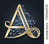 vector letter a. golden... | Shutterstock .eps vector #750506935