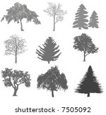 tree silhouettes | Shutterstock .eps vector #7505092