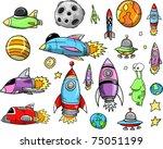 outer space rocket ship doodle... | Shutterstock .eps vector #75051199