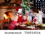 family with children eating... | Shutterstock . vector #750514516