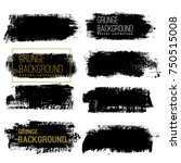 set of black ink vector stains | Shutterstock .eps vector #750515008